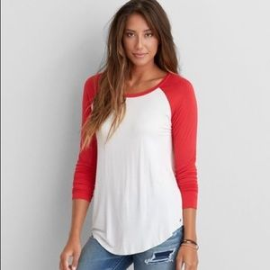 AEO Soft & sexy jegging t red & white baseball tee